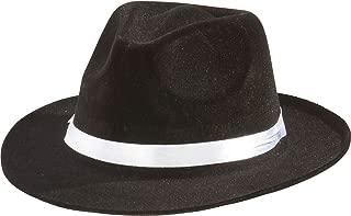 Gangster Fedora Hat Black w/ White Band