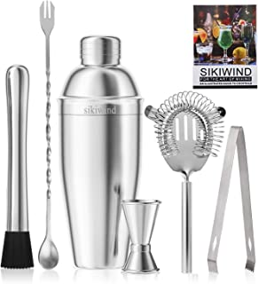 25 oz Cocktail Shaker Bar Set by SIKIWIND, Stainless Steel Martini Shaker, Mixing Spoon, Muddler, Measuring Jigger, Liquor Pourers with Dust Caps and Manual of Recipes, Professional Bar Tools