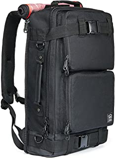 KAUKKO Vintage Canvas Laptop Backpack Rucksack Outdoor Hiking Camping Travel Daypack (Black)