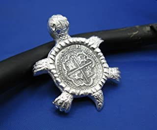 Sterling Silver Original Sea Turtle Pendant with Reproduction Shipwreck Coin in Sterling Silver Designed and Handcrafted by Crisol Jewelry