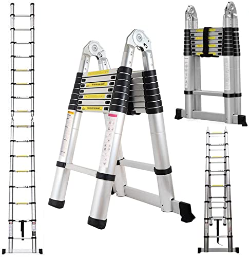 lowest Heavy Duty Telescoping wholesale Ladder 16.5 Feet Aluminum A-Frame Folding lowest Steps 330 Pound Load Capacity DIY Building Supplies for Home Outdoor Office sale