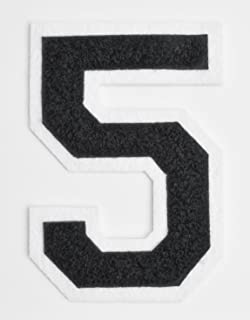Varsity Number Patches - Black Embroidered Chenille Letterman Patch - 4 1/2 inch Iron-On Numbers (Black, Number 5 Patch)