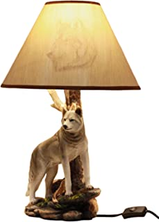 Ebros Twilight Lone Timber Wolf Desktop Table Lamp With Shade Home Furnishing 20