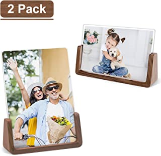ArtbyHannah 4 x 6 inch 4 Pack Rustic Picture Frame Set in Distressed Wood Grain with High Definition Glass for Table Top Display and Wall Mounting Photo Frame for Farmhouse or Home Decoration