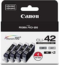 Canon CLI-42 ChromaLife Value Pack (2 Photo Black, 1 Gray & 1 Light Gray) Compatible to PIXMA PRO-100