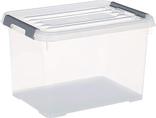 CURVER | Boîte de rangement Handy box Plus 20L + clips Gris avec couvercle, Transparent, 40 x 29 x 26 cm, Plastique