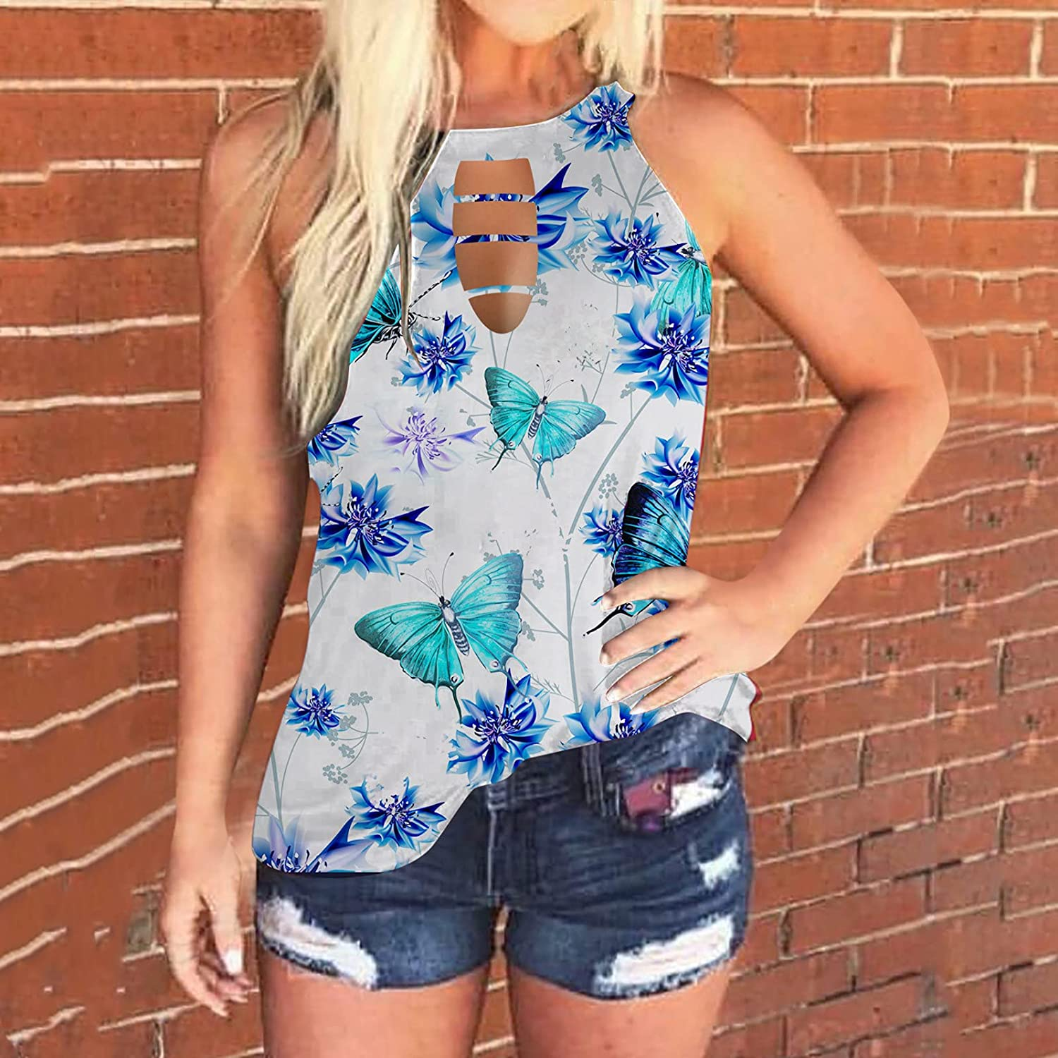 Aukbays Summer Tank Tops for Women, Casual Sleeveless Butterfly Print Loose Fit Cut Out Tank Tees Shirts Vest Crop Tops