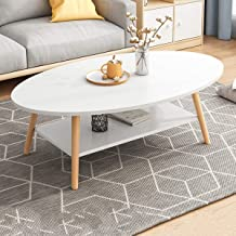 Modern Coffee Table Oval Center Table End Table 100x50x42cm 2 Tier with Storage Shelf and Sturdy Wooden Legs Easy to Assem...