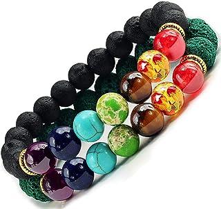 Lot De 2 Bracelets 7 Chakras Alik'S Pierres De Lave Naturelles Perles D'Energie Bracelet Extensible Elastique Tibetain Bou...