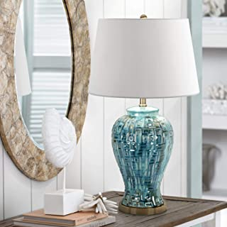 Asian Table Lamp Ceramic Teal Glaze Patterned Temple Jar White Empire Shade for Living Room Family Bedroom - Possini Euro Design