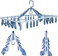 Foshine Foldable Clip Hangers Drip Hanger Plastic with 32 Drying Clips Wind-Proof Hook Underwear Hanger with Clips Plastic...