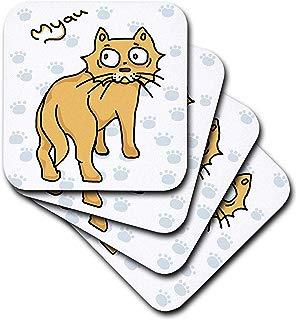 3dRose Warya - Animals. - Ginger Cat Say Meou - set of 4 Ceramic Tile Coasters (cst_299938_3)