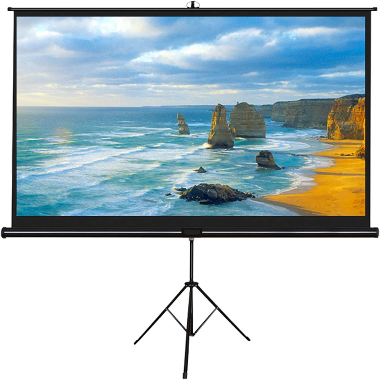 XINKO Portable Indoor Outdoor Projector Screen 100 Inch Diagonal Projection HD 16:9 Projection Pull Up Foldable Stand Tripod