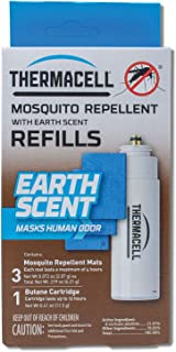 Thermacell Earth Scent Mosquito Repellent Refills, 12-Hours; Masks Human Odors, Keeps Mosquitoes Away; Contains Fuel Cartridge and 3 Repellent Mats; Fits all Thermacell Fuel-Powered Devices; DEET-Free