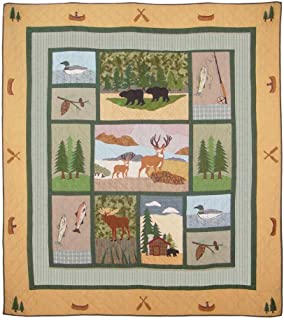 Patch Magic Twin Lodge Fever Quilt, 65-Inch by 85-Inch