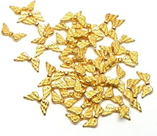 Rockin Beads Brand, 48 Angel Wings Gold Plated Beads Cast Zinc Metal Beads 20x9mm