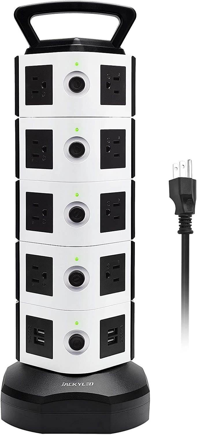 Power Strip Tower JACKYLED Surge Protector Electric Charging Station 3000W 13A 18 AC Outlets 4 USB Ports with 16AWG 6.5ft Heavy Duty Extension Cord for Home Office