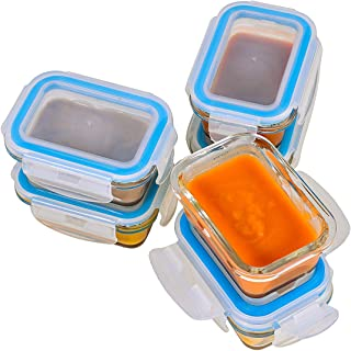 Elacra [4oz, 6-Pack] Glass Baby Food Storage Containers Small Glass Containers with BPA-Free & Locking Lids - Freezer, Oven and Microwave Safe