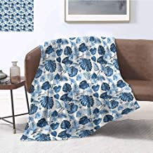 Luoiaax Hawaii Bedding Microfiber Blanket Branch of Arecaceae Tree Polynesian Symbol of Triumph and Victory Spring Super Soft and Comfortable Luxury Bed Blanket W57 x L74 Inch Cobalt Blue Baby Blue
