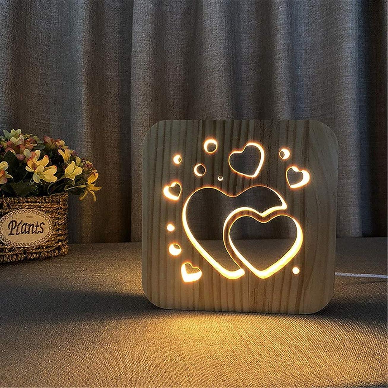 カフェ原子資格保育園用ナイトライト 子供の大人のホームデコレーションUSB電源スイッチボタンの母の日のギフト3Dファントムナイトライトのためのシンプルな彫刻ハーツ3DイリュージョンLEDランプキッズルームソリッドウッド常夜灯ベッドルームオフィスのデスクランプ (色 : Wood, サイズ : 190*190*30mm)