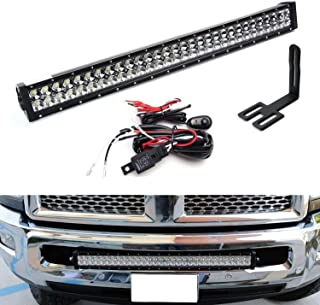 iJDMTOY Lower Grille 30-Inch LED Light Bar Kit For 2003-18 Dodge RAM 2500 3500 HD, Includes (1) 180W High Power LED Lightbar, Lower Bumper Opening Mounting Brackets & On/Off Switch Wiring Kit