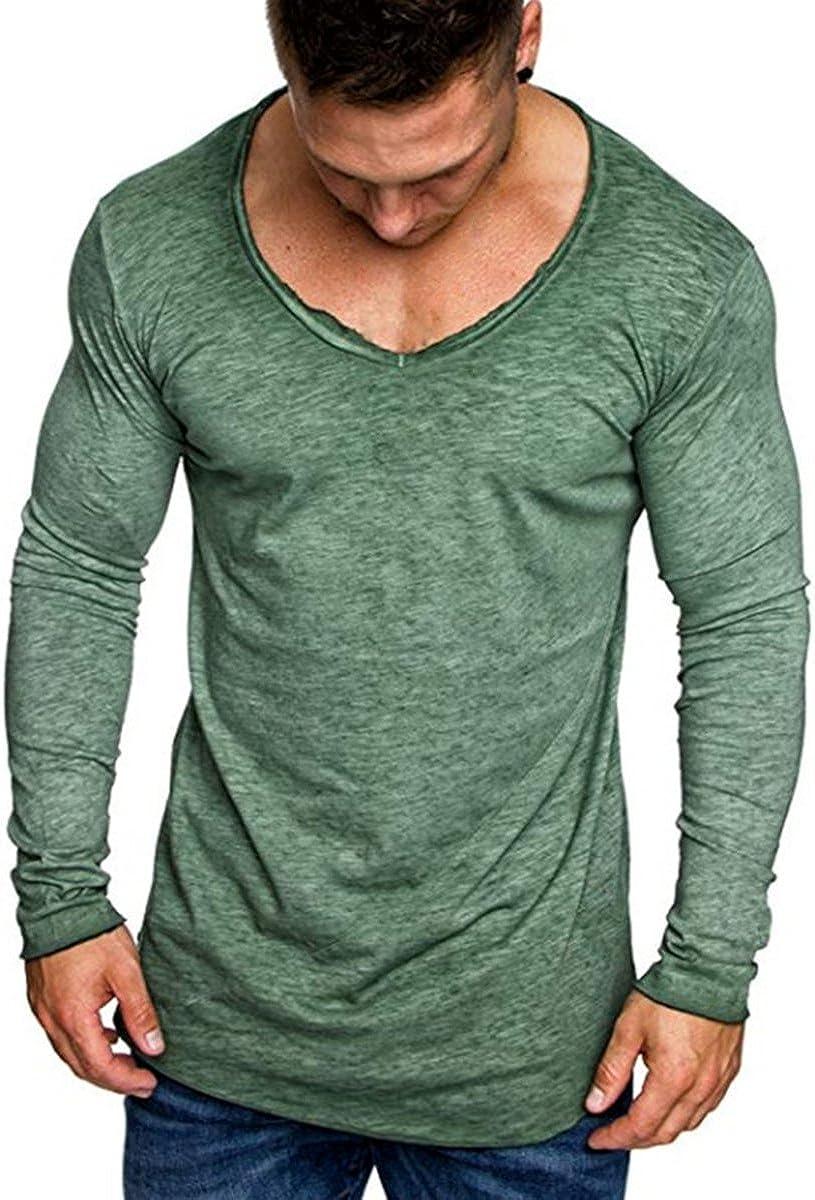 AitosuLa Langarmshirt Herren Long Sleeve T-Shirt Rundhals Einfarbig Base Tops Oberteile Langarm Shirt Slim Fit Basic Casual Tee Pullover Bluse
