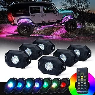 Xprite 6PCs LED RGB Rock Light Kit with Wireless Remote Control, Flashing, Auto Scroll Modes, Multicolor Neon Lights Pod for Underglow Off Road, Truck, JEEP, UTV, ATV, SUV