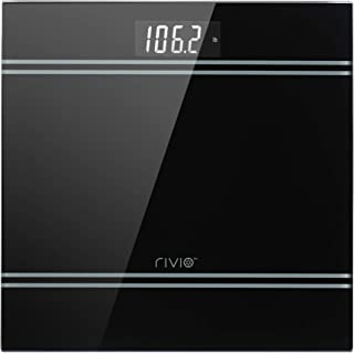 RIVIO Digital Body Weight Bathroom Scale with Step-On Technology and Large LCD Backlight Dispaly,6mm Tempered Glass, High Precision Measurements,440 Pounds,Black