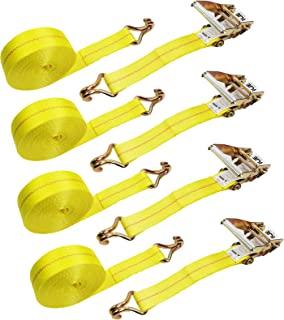2 Tie-Down Ratchet Straps J Hooks, 2 Heavy Duty 2' x 27' Tie-Down Ratcheting Cargo Truck Straps Wire Hook Ends, J-Hook Ratchet Strap TieDowns KJE 4PC