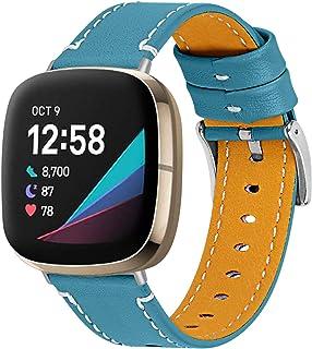 Versa 3 Bracelet de rechange en cuir souple pour homme et femme avec boucle en métal réglable de 14 à 19,8 cm pour Fitbit ...