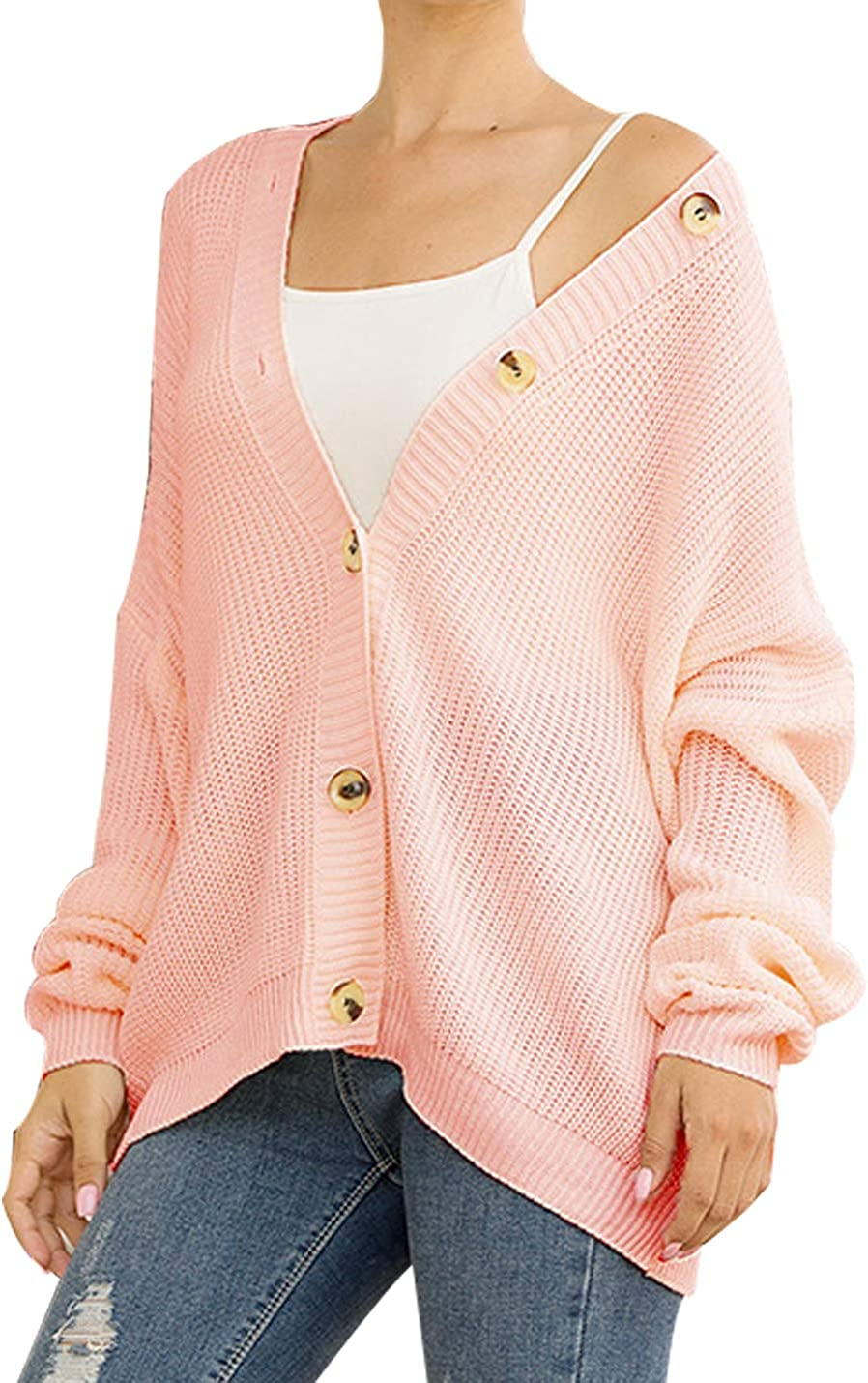 Uaneo Womens Boyfriend Knit V-Neck Balloon Sleeve Button Down Cardigan Sweaters(Pink-M)