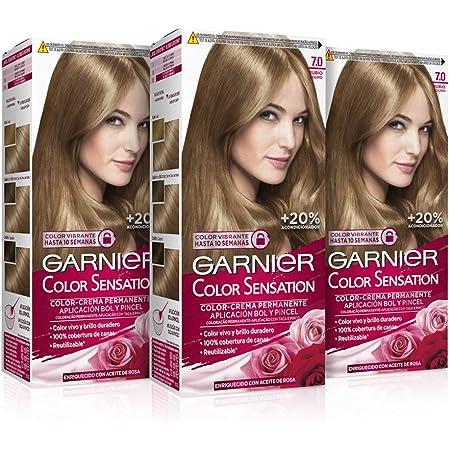 Garnier Color Sensation - Tinte Permanente Rubio 7, disponible en más de 20 tonos (Paquete de 3)