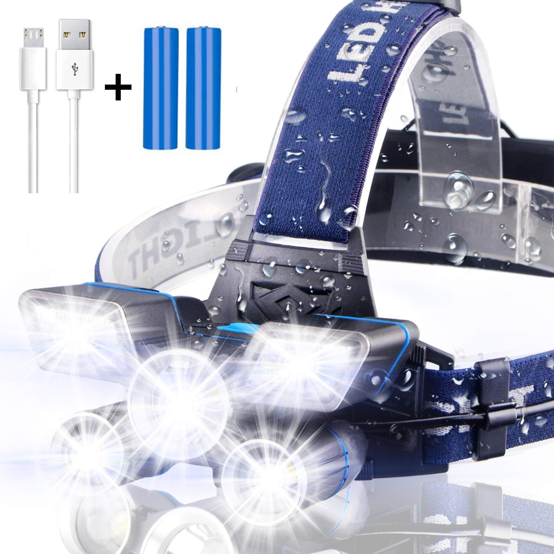 Brightest%E3%80%9021 Rechargeable Waterproof Headlight Flashlight