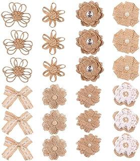 Amosfun 24 peças Flores de estopa natural Vintage Flores de estopa laço Rosa de estopa de renda para artesanato DIY Decora...