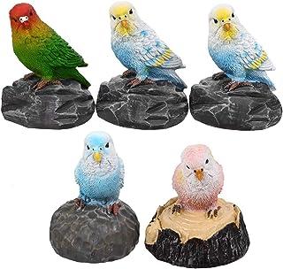 Luckyw 5 st papegoja fågel modell leksaker harts trädgård figurer för samling trädgård gård heminredning