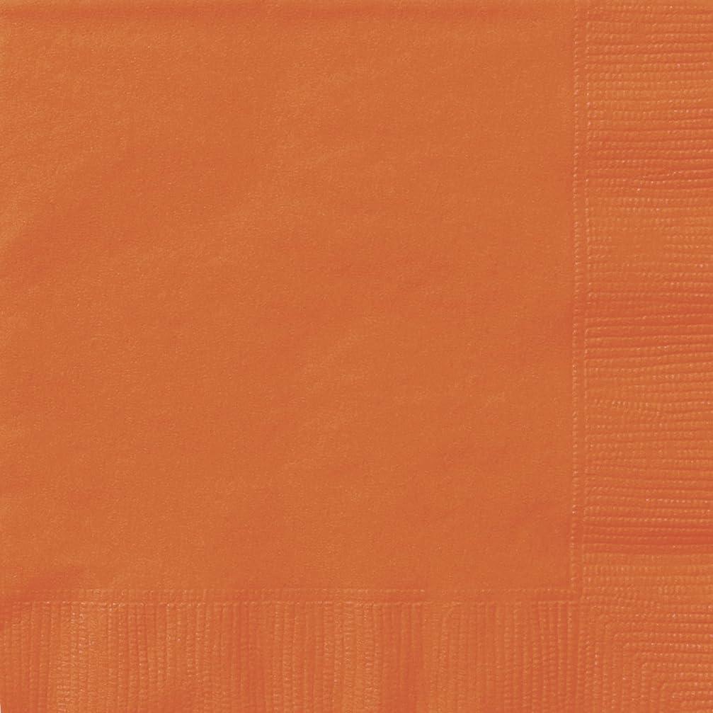ずんぐりした完了鋸歯状Beverage Napkins, 5 x 5, Orange, 20 Count by Unique Industries