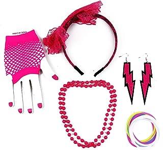 Pomeat 80er Jahre Spitze Stirnband Ohrringe Fischnetz Handschuhe Halskette Armband für 80er Party Frauen Kostüm Zubehör