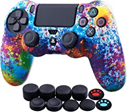 Best YoRHa Water Transfer Printing Camouflage Silicone Cover Skin Case for Sony PS4/slim/Pro Dualshock 4 Controller x 1(Spashing Paint) with Thumb Grips x 10 Review