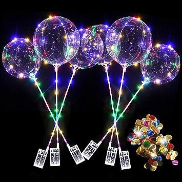 Oferta amazon: 6 globos de 20 pulgadas con luz LED BoBo, lentejuelas de colores, globos de luces LED intermitentes, globo brillante para la fiesta de cumpleaños de Navidad, celebraciones del día de San Valentín