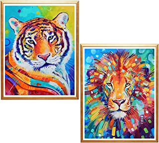 Yomiie 5D Diamond Painting Watercolour Lion and Tiger Full Drill by Number Kits for Adults, 2 Pack Beast Paint with Diamonds Art Animal Rhinestone Embroidery Craft Decor 30x40 cm (12x16inch)