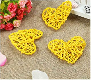 6pcs 10cm Rattan Heart Sepak Takraw Colorful Rattan Ball Wedding Party Decoration Valentines Day Decor DIY Home Table Supplies,Yellow