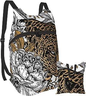 Mochila ligera de leopardo y peonía, plegable, para senderismo, impermeable, para hombres y mujeres