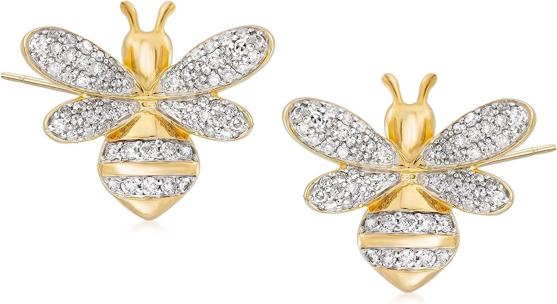 Ross-Simons 0.50 ct. t.w. Diamond Bee Earrings in 18kt Gold Over