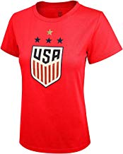 Icon Sports U.S. Soccer USWNT 4-Star Celebration Crest Ladies T-Shirt Soccer Tee