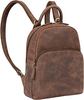 """STILORD Ruby"""" Daypack Damen Leder Rucksack Kleiner Lederrucksack Vintage Rucksackhandtasche Cityrucksack für Ausgehen Shopping Tagesrucksack S Echtleder, Farbe:Veleta - braun"""