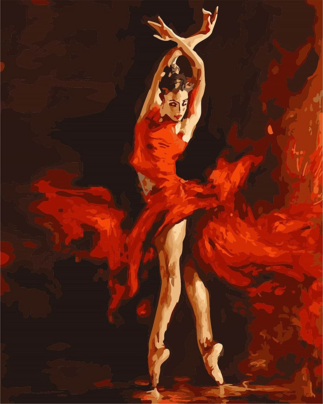 Sonby Frameless DIY Paint By Numbers Kits For Adult Kids Fire Red Ballet Dancer On Canvas Painting By Number For Home Wall Decor,Unmounted