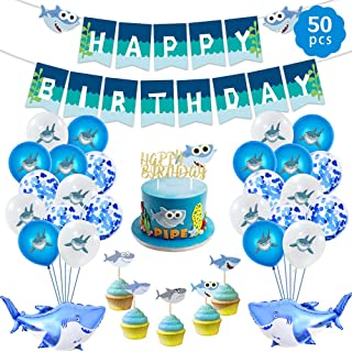 Baby Shark Birthday Party Supplies Decorations for Boys and Girls, Under The sea Ocean Shark Theme Party Decorations Favors Includes Shark Balloons, Shark Birthday Banner, Shark Cake Topper (Blue)