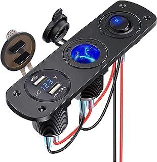Thlevel 4-i-1 billaddare omkopplarpanel, dubbel USB-laddare 12V 4,2A + LED voltmeter + på/av vippströmbrytare + cigarettut...