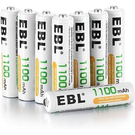 EBL 単4形充電池 充電式ニッケル水素電池 高容量1100mAh 8本入り 約1200回使用可能 ケース2個付き 単四充電池