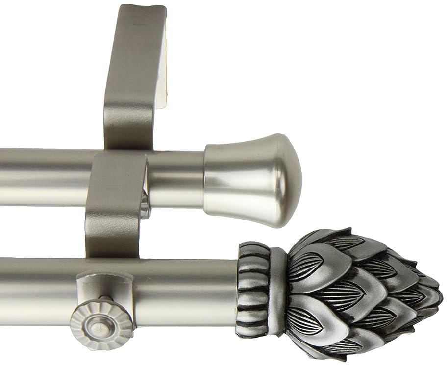 Rod Desyne Bud Double Curtain Rod, 28 by 48-Inch, Satin Nickel